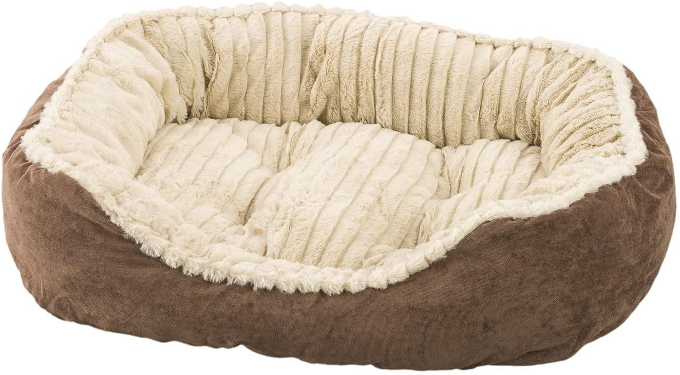 Ethical Pet Spot Sleep Zone Carved Plush Dog Bed, Chocolate, 26-in