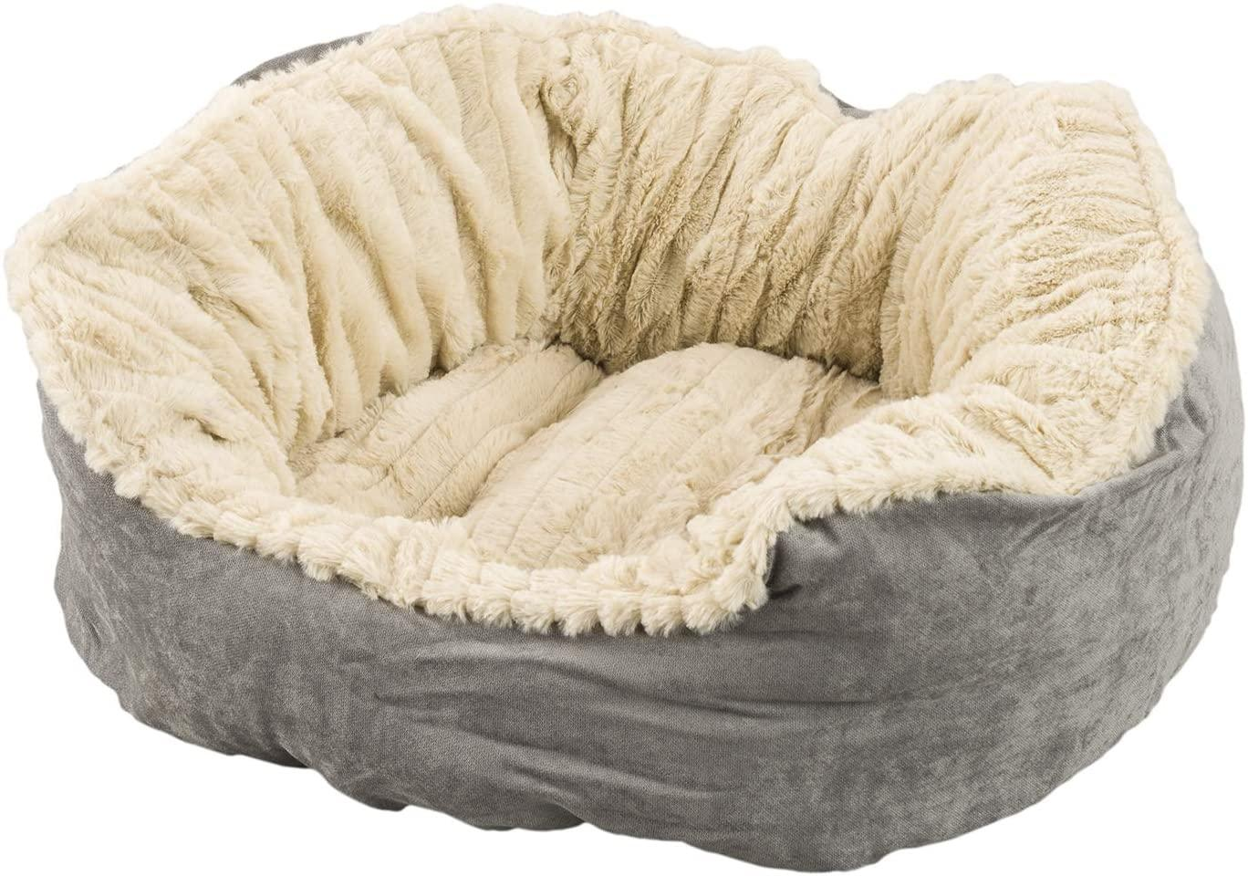 Ethical Pet Spot Sleep Zone Carved Plush Dog Bed, Gray, 21-in