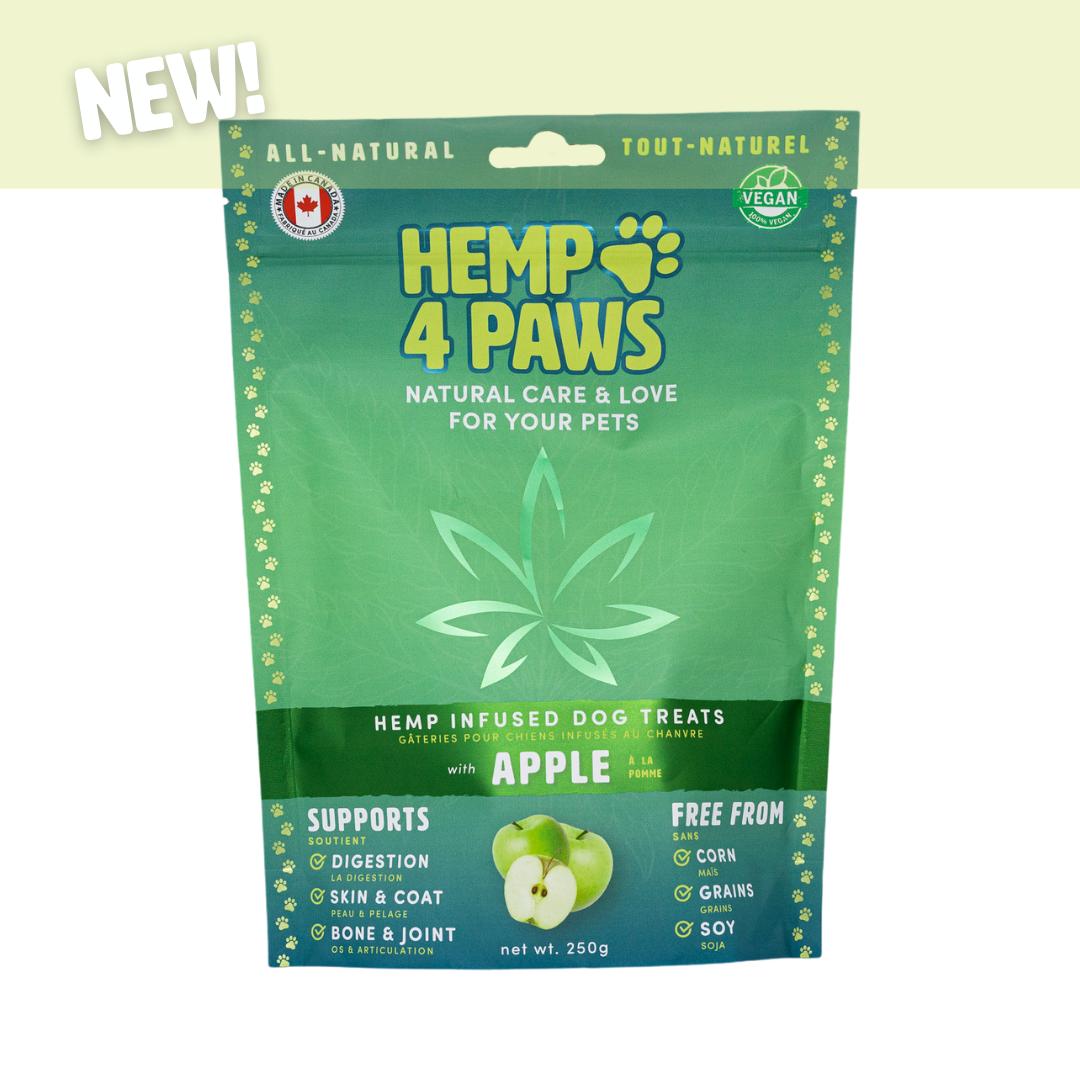 H 4 Paws Hemp Infused Dog Treats, Apple, 250-gram