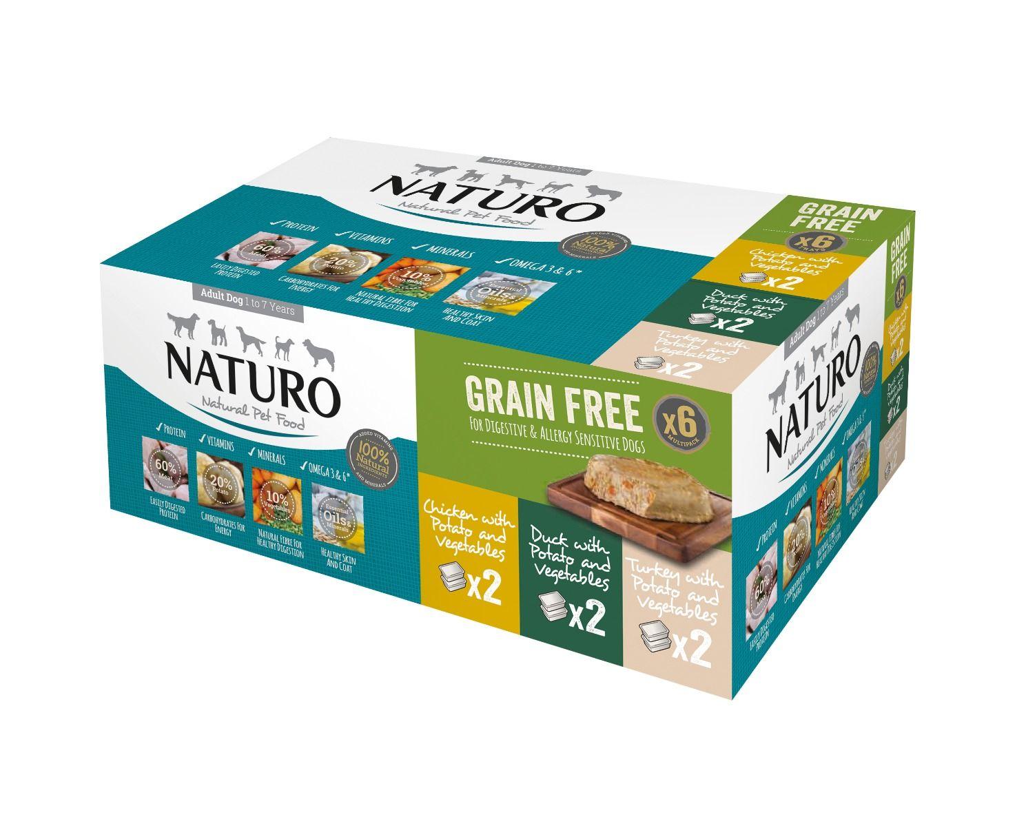 Naturo Adult Dog Grain Free pack Variety Trays, 400-g, 6-pack