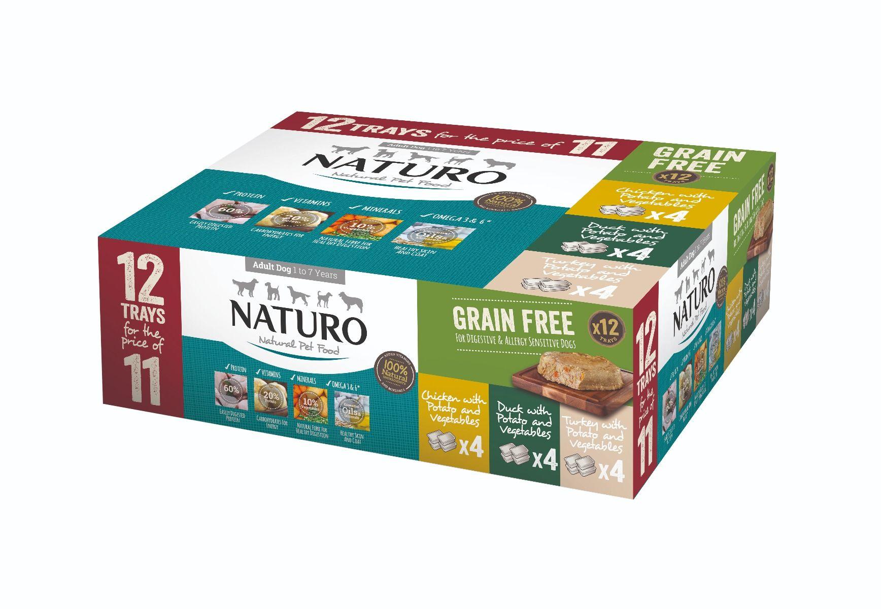 Naturo Adult Dog Grain Free pack Variety Trays, 400-gram, 12-pack