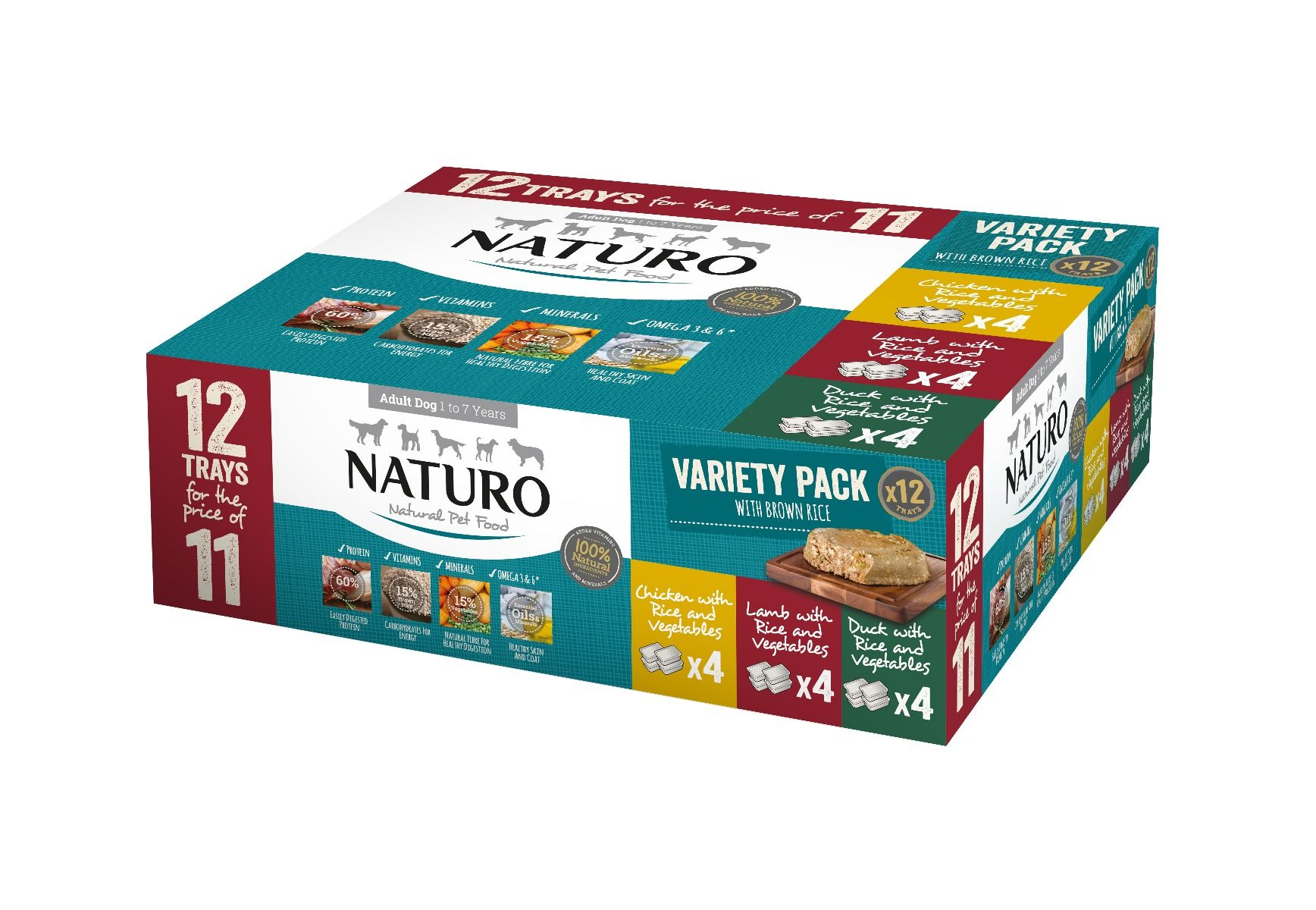 Naturo Adult Dog with Rice Variety Trays, 400-g, 12-pack