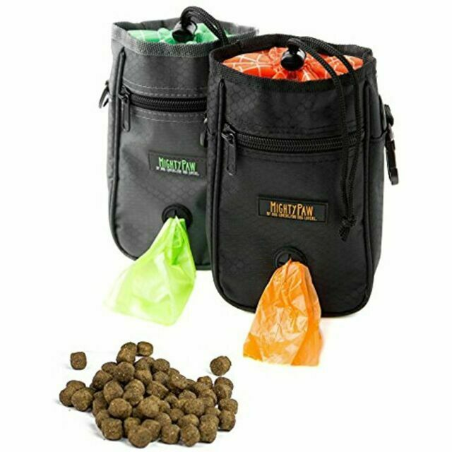 Mighty Paw Treat Pouch Black with travel strap