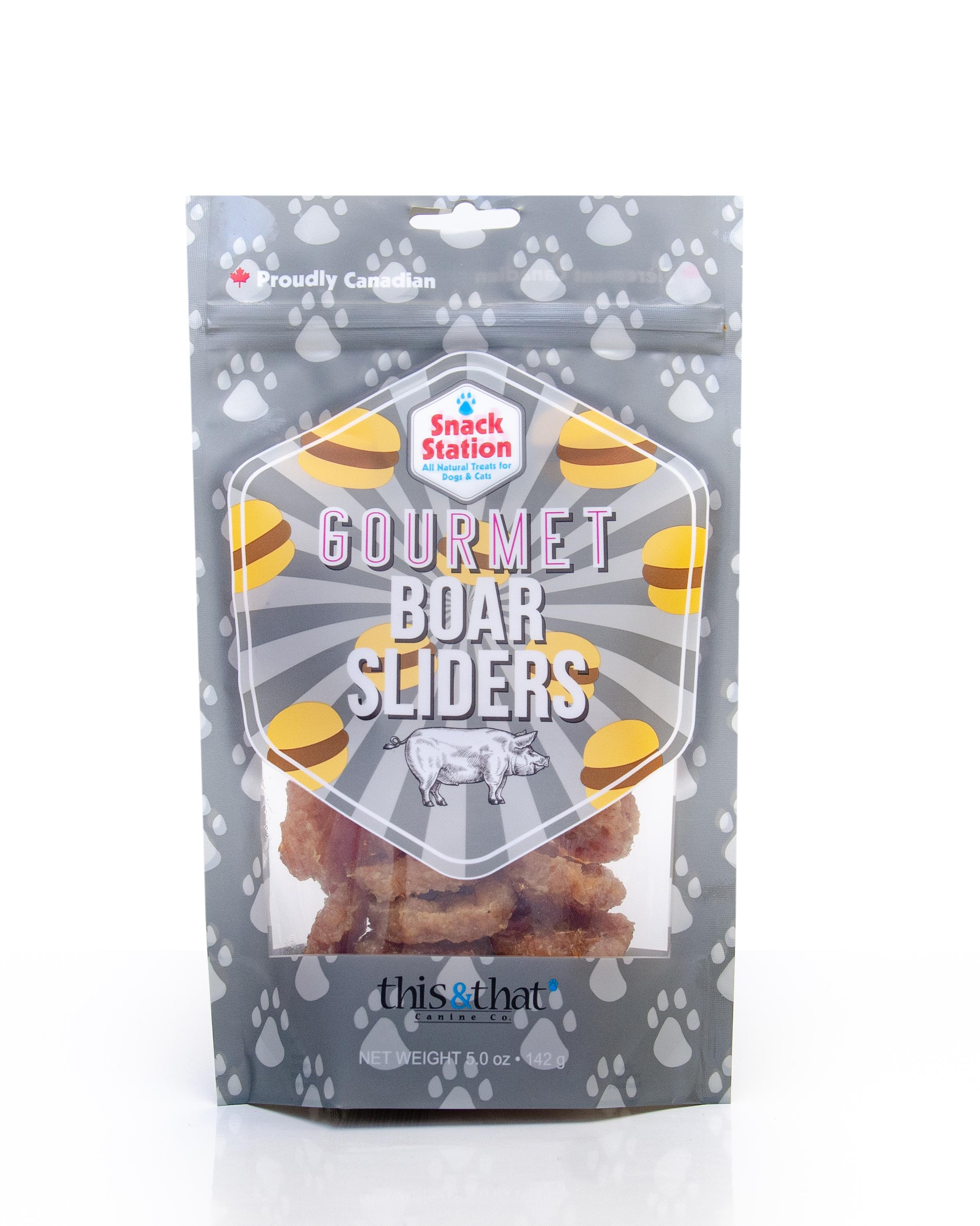 This & That Snack Station Gourmet Wild Boar Sliders Dog Treats, 142-gram