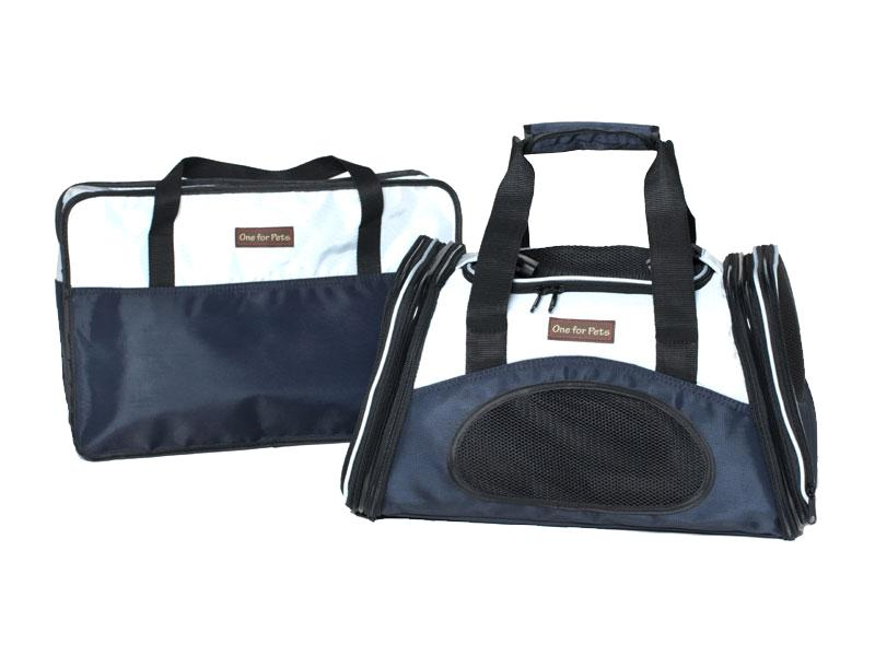 One For Pets The One Bag Expendable Pet Carrier, Navy, Small