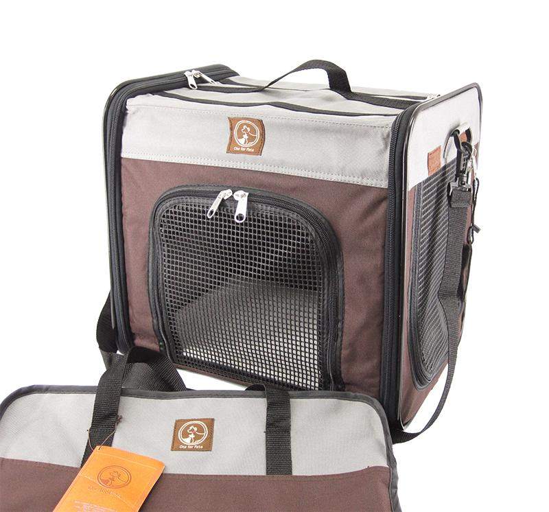 One For Pets The Cube Folding Pet Carrier, Grey/Brown, Large