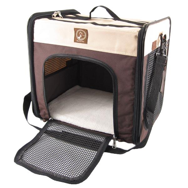 One For Pets The Cube Folding Pet Carrier, Cream/Brown, Large