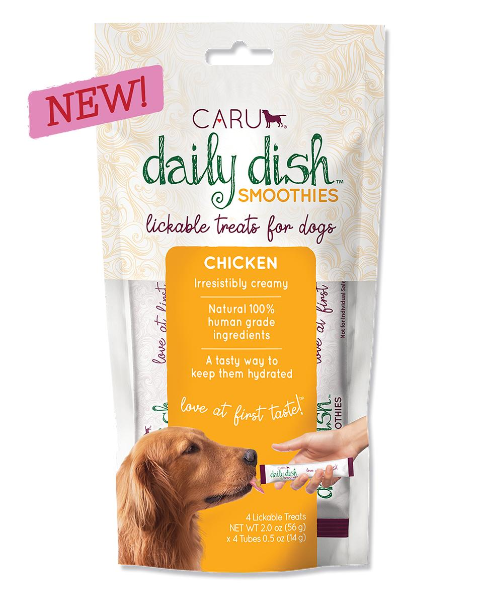 Caru Daily Dish Smoothies Chicken Lickable Dog Treats, 2-oz, 4-pk