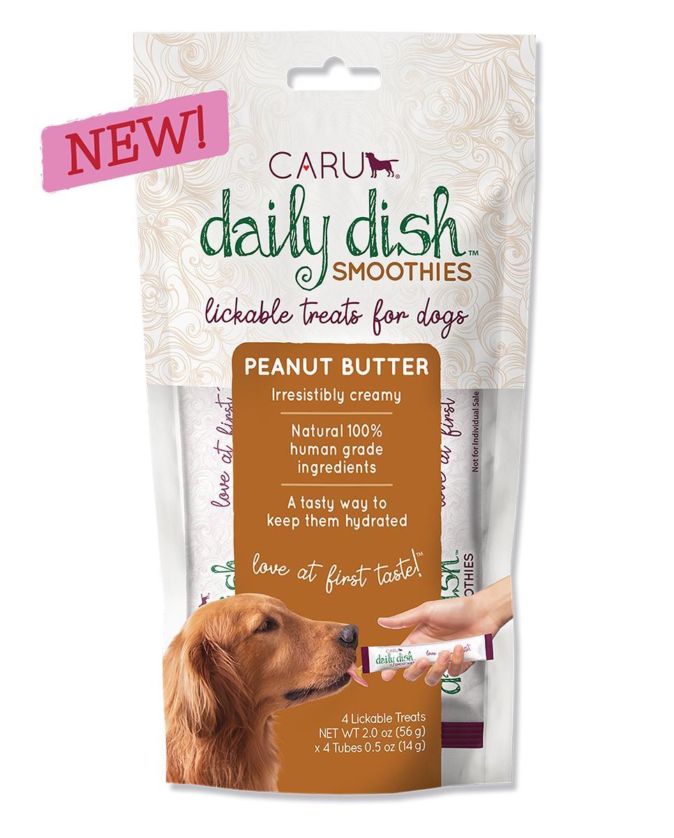 Caru Daily Dish Smoothies Peanut Butter Lickable Dog Treats, 2-oz, 4-pk