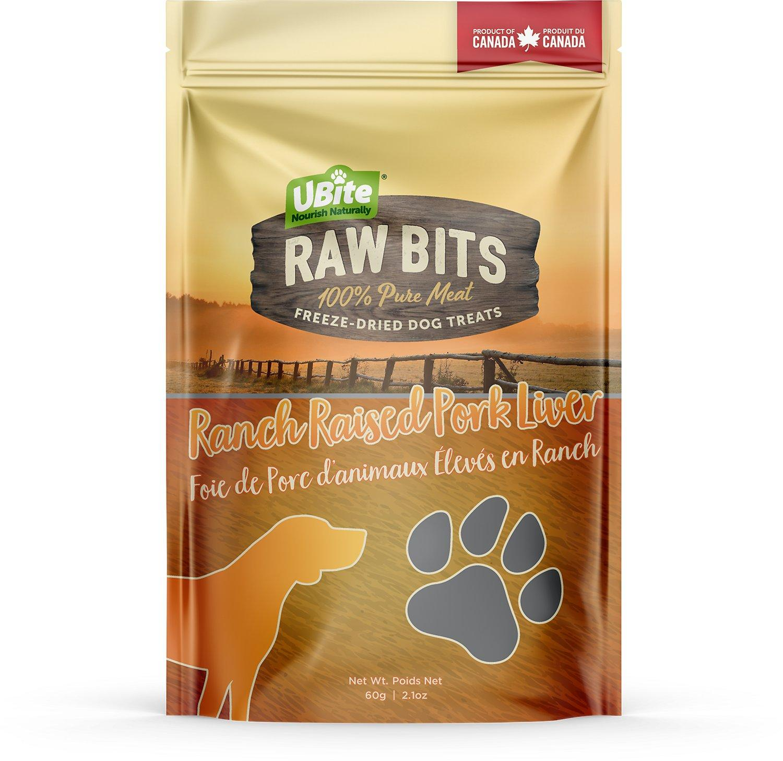 UBite Raw Bits Ranch Raised Pork Liver Freeze-Dried Dog Treats, 60-gram