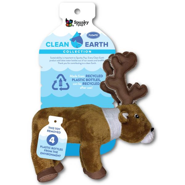 Spunky Pup Clean Earth Plush Caribou Dog Toy, Small