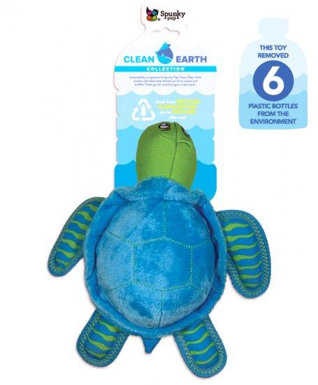 Spunky Pup Clean Earth Plush Turtle Dog Toy, Large