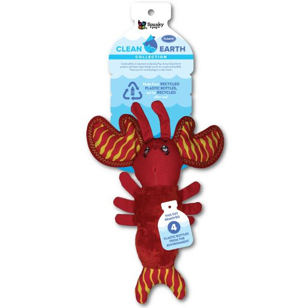 Spunky Pup Clean Earth Plush Lobster Dog Toy, Small