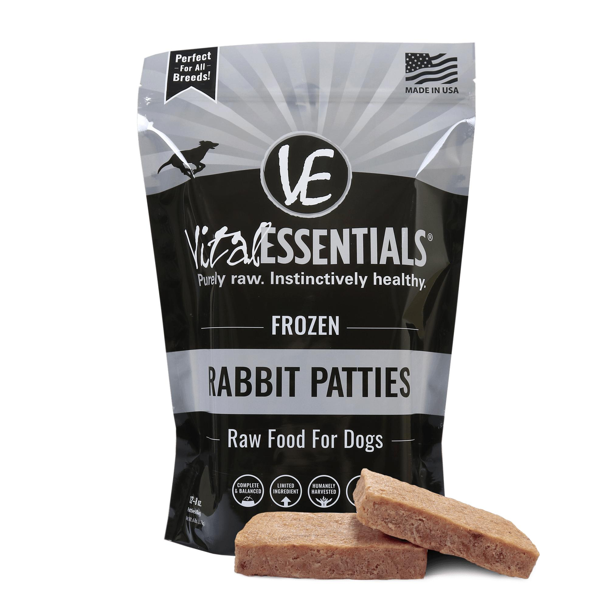Vital Essentials Rabbit Patties Raw Frozen Dog Food, 6-lb