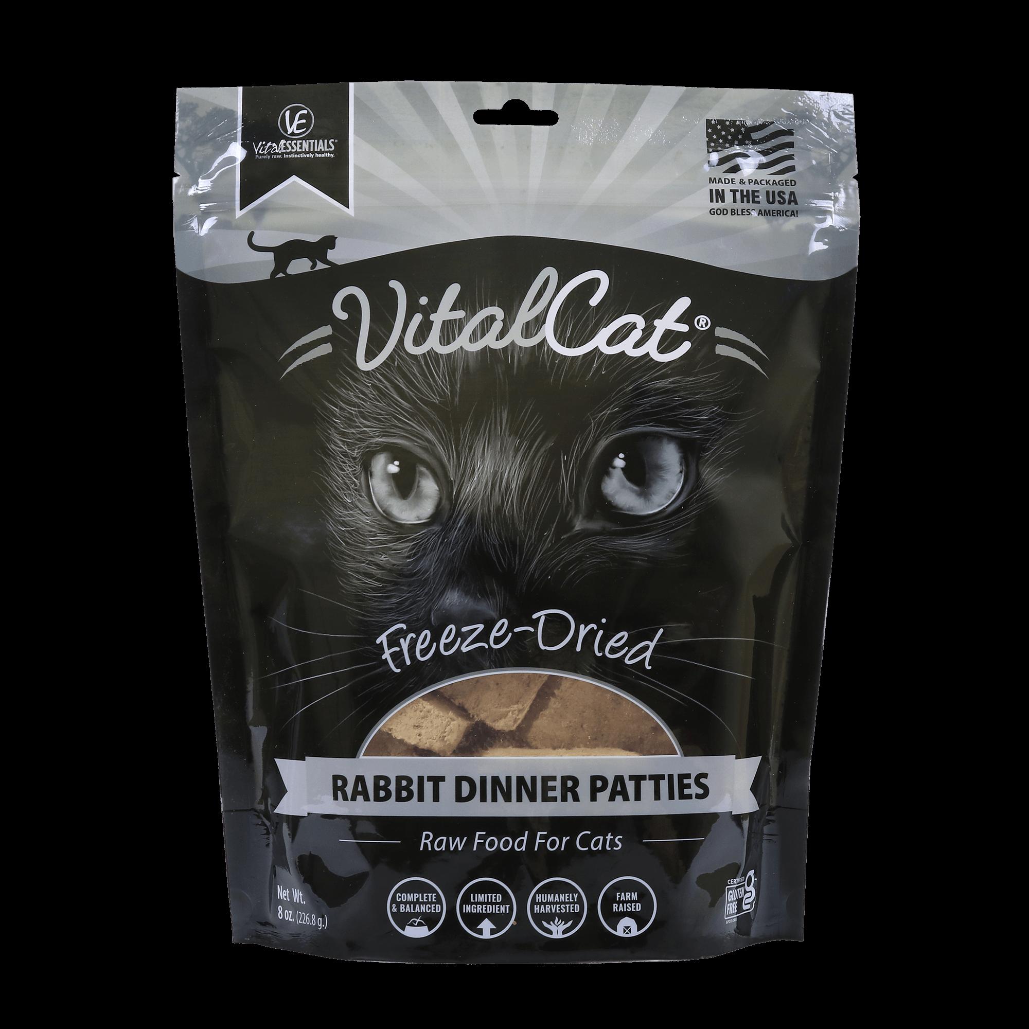 Vital Essentials Vital Cat Rabbit Mini Patties Raw Freeze-Dried Cat Food, 8-oz