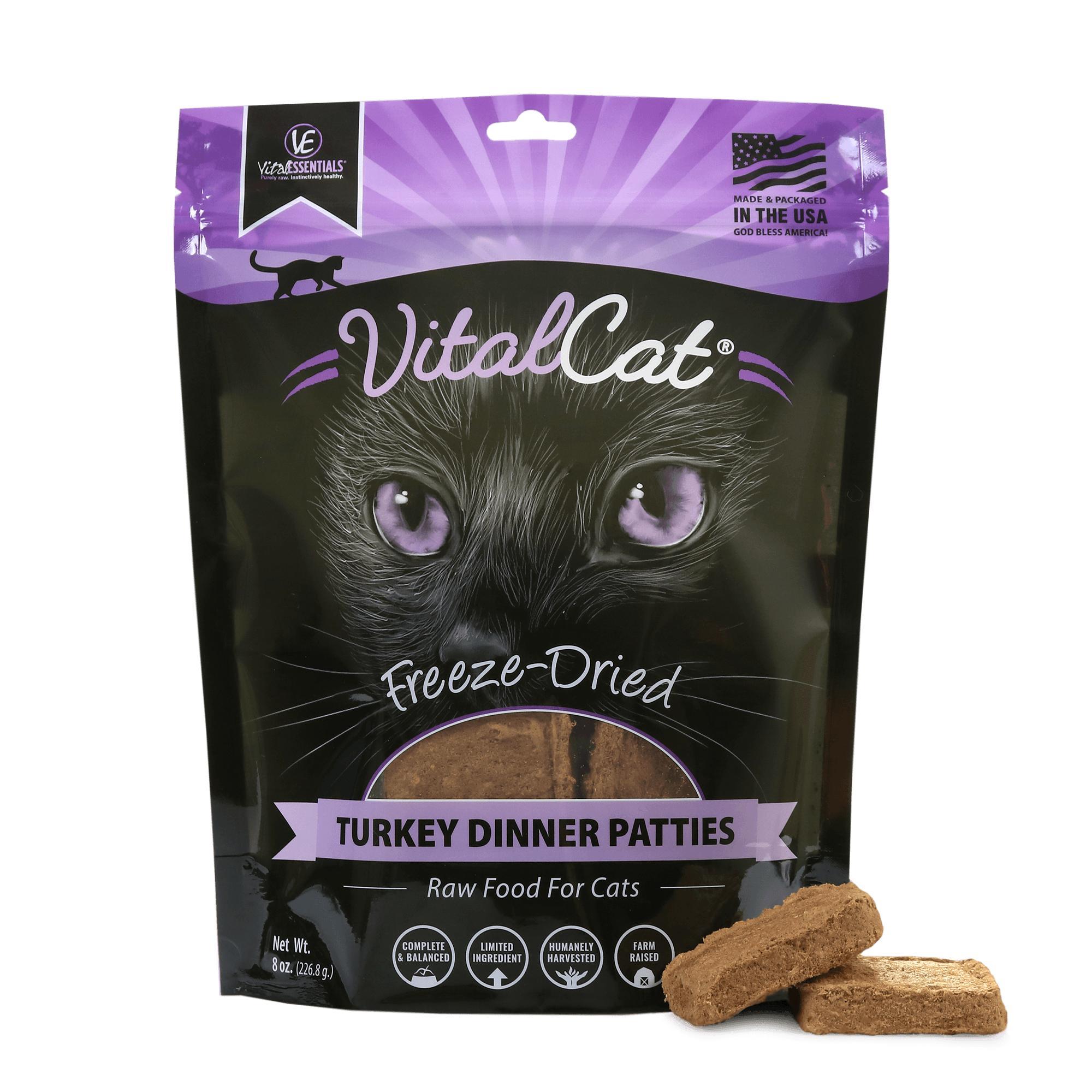 Vital Essentials Vital Cat Turkey Mini Patties Raw Freeze-Dried Cat Food, 8-oz