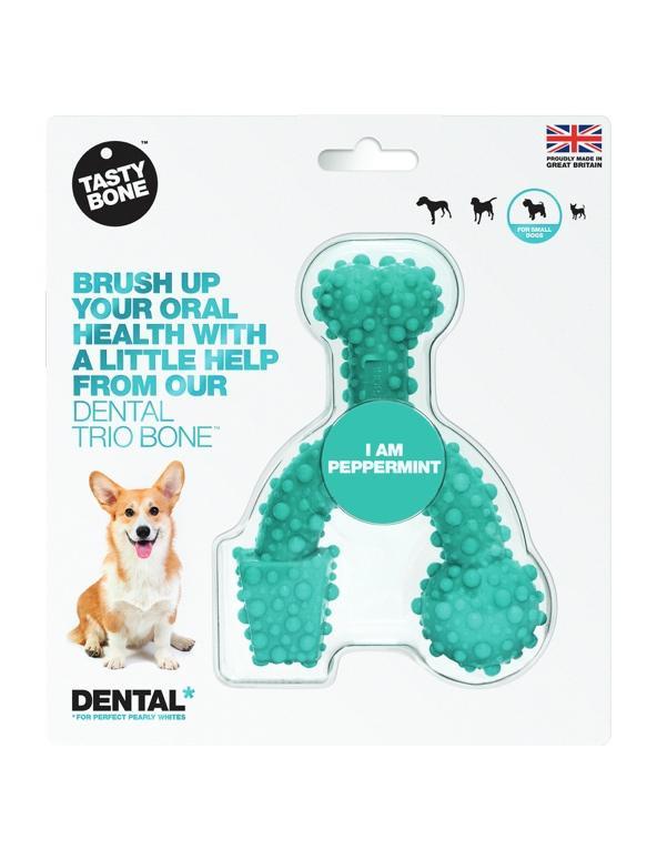 Tasty Bone Dental Trio Bone Peppermnt Dog Toy, Small
