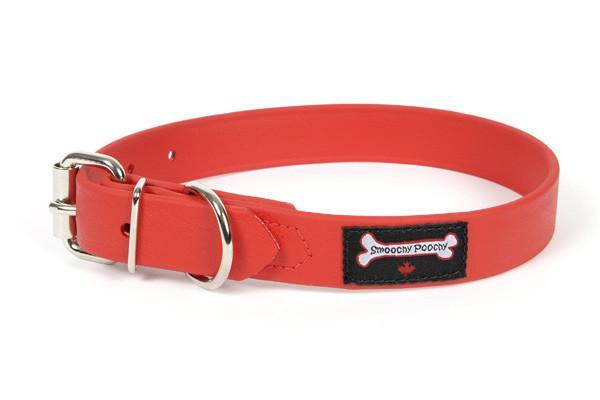 Smoochy Poochy Polyvinyl Waterproof Dog Collar, Red, Medium
