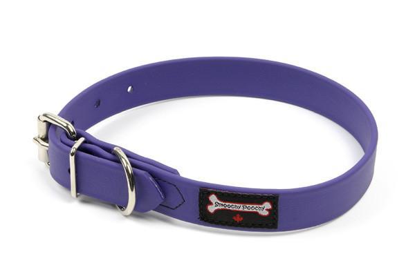 Smoochy Poochy Polyvinyl Waterproof Dog Collar, Purple, Medium