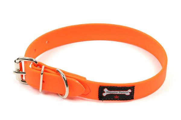 Smoochy Poochy Polyvinyl Waterproof Dog Collar,Orange, Small