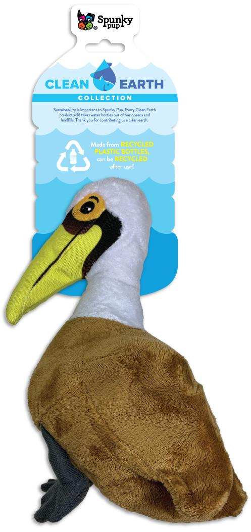 Spunky Pup Clean Earth Plush Pelican Dog Toy, Small