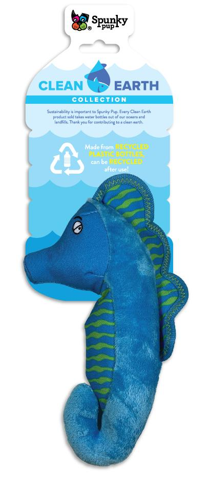 Spunky Pup Clean Earth Plush Seahorse Dog Toy, Small