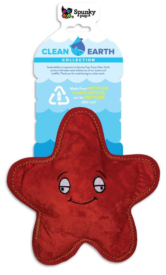 Spunky Pup Clean Earth Plush Starfish Dog Toy, Small
