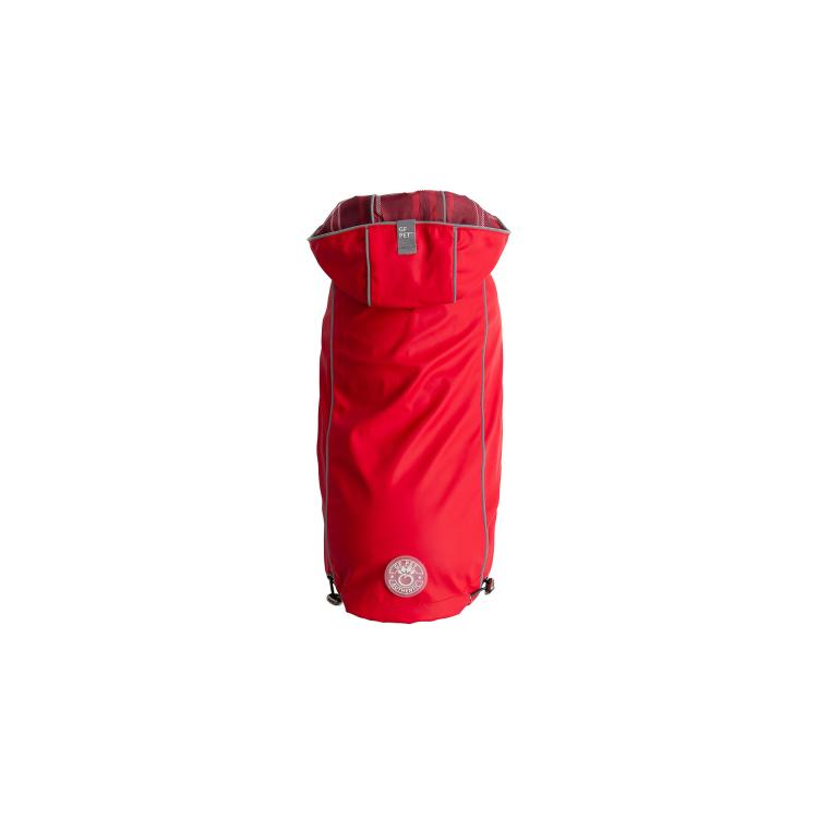 GF Pet Elastofit Reversible Dog Raincoat, Red, Small