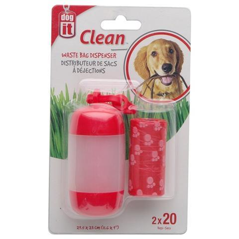 Dogit Waste Bag Dispenser with 2 Rolls for Dogs, Red Image