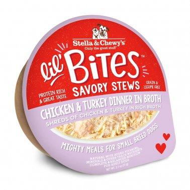 Stella & Chewy's Dog Lil Bites Savory Stew Chicken & Turkey, 2.7-oz