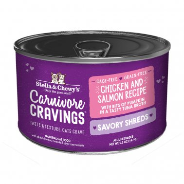 Stella & Chewy's Cat Carnivore Cravings Shred Chicken & Salmon, 5.2-oz