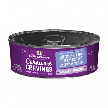 Stella & Chewy's Cat Carnivore Cravings Shred Chicken & Turkey, 2.8-oz