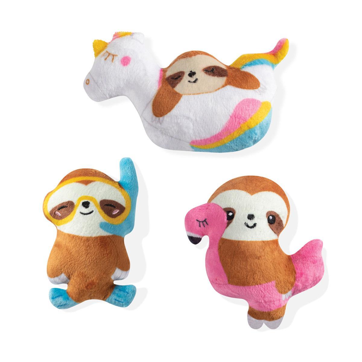 Pet Shop by Fringe Studio Summer Sloths Dog Toy, Small, 3-pk
