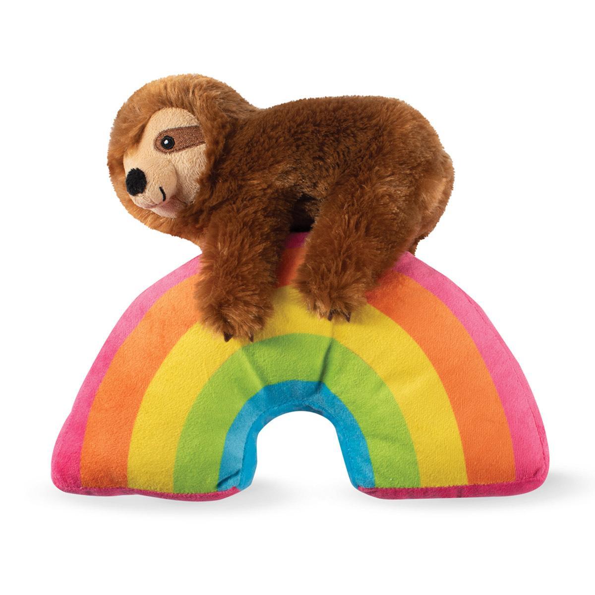 Pet Shop by Fringe Studio Sloth On A Rainbow Plush Dog Toy