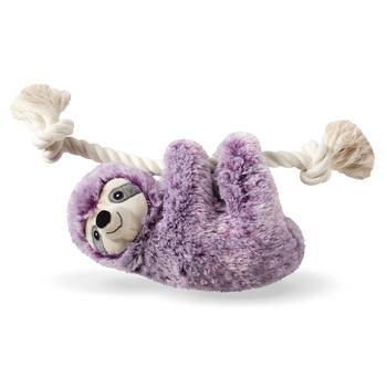 Pet Shop by Fringe Studio Sloth On A Rope Plush Dog Toy, Violet