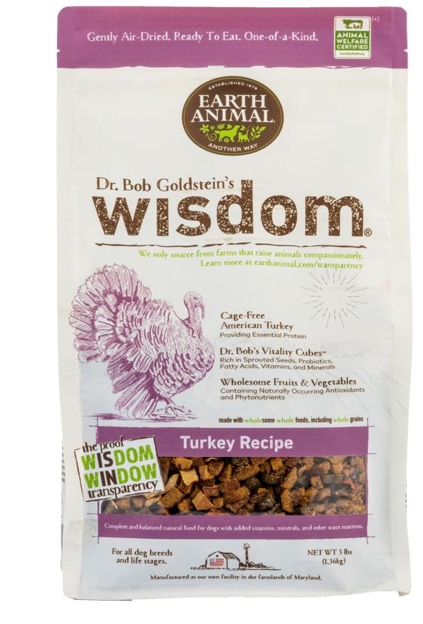 Earth Animal Wisdom Turkey Dry Dog Food, 3-lb