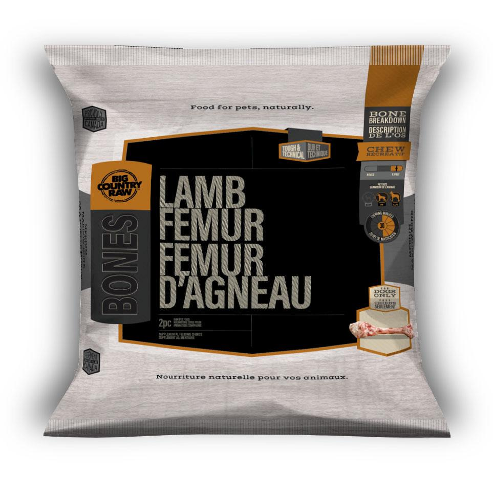 Big Country Raw Lamb Femur Dog Treats, 2-count