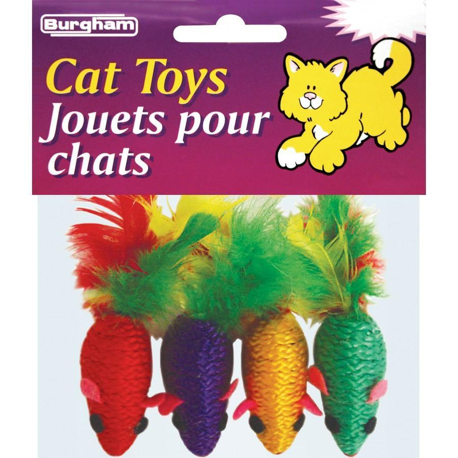 Burgham Simon's Rope Mice with Feather Cat Toy, 3-pk