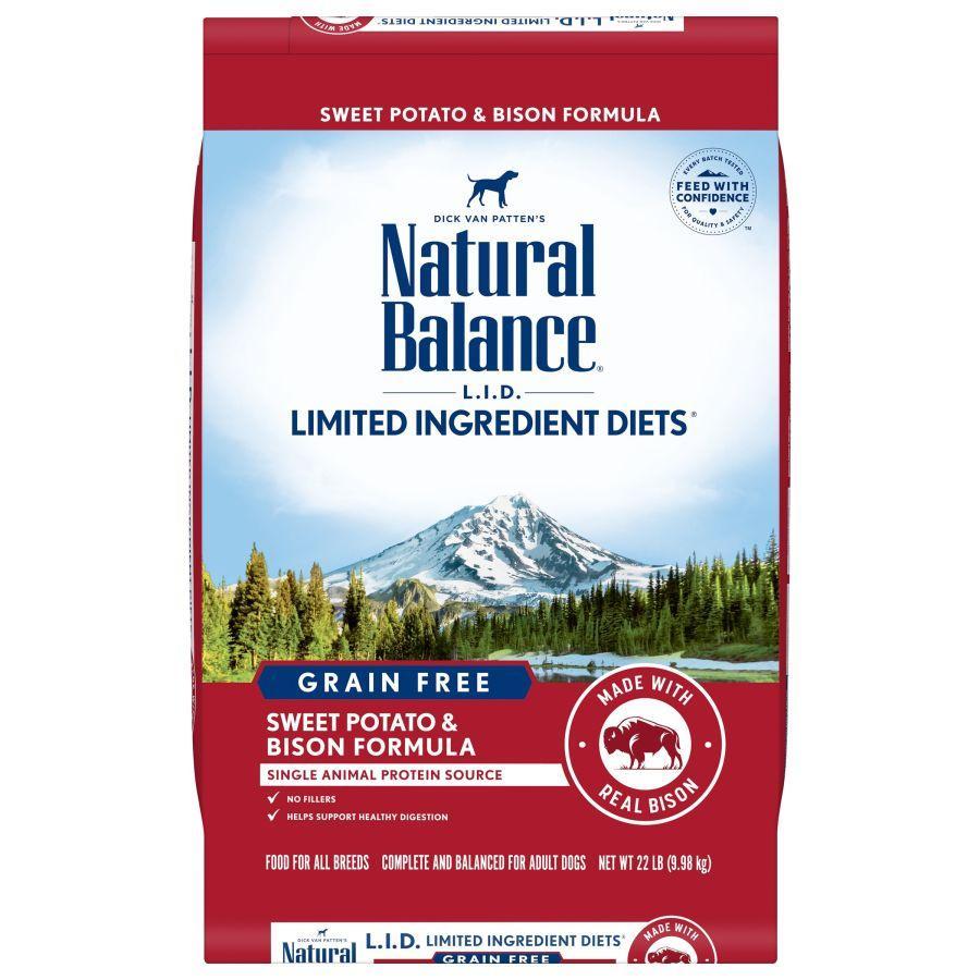 Natural Balance L.I.D. Limited Ingredient Diets Sweet Potato & Bison Formula Grain-Free Dry Dog Food, 22-lb