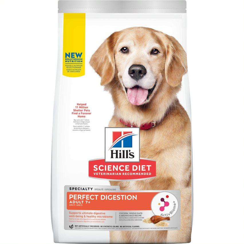 Hill's Science Diet Senior Adult 7+ Perfect Digestion Chicken Dry Dog Food, 3.5-lb