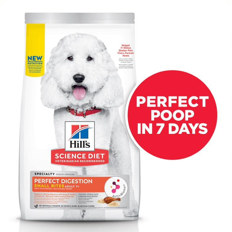 Hill's Science Diet Senior Adult 7+ Perfect Digestion Small Bites Chicken Dry Dog Food, 12-lb