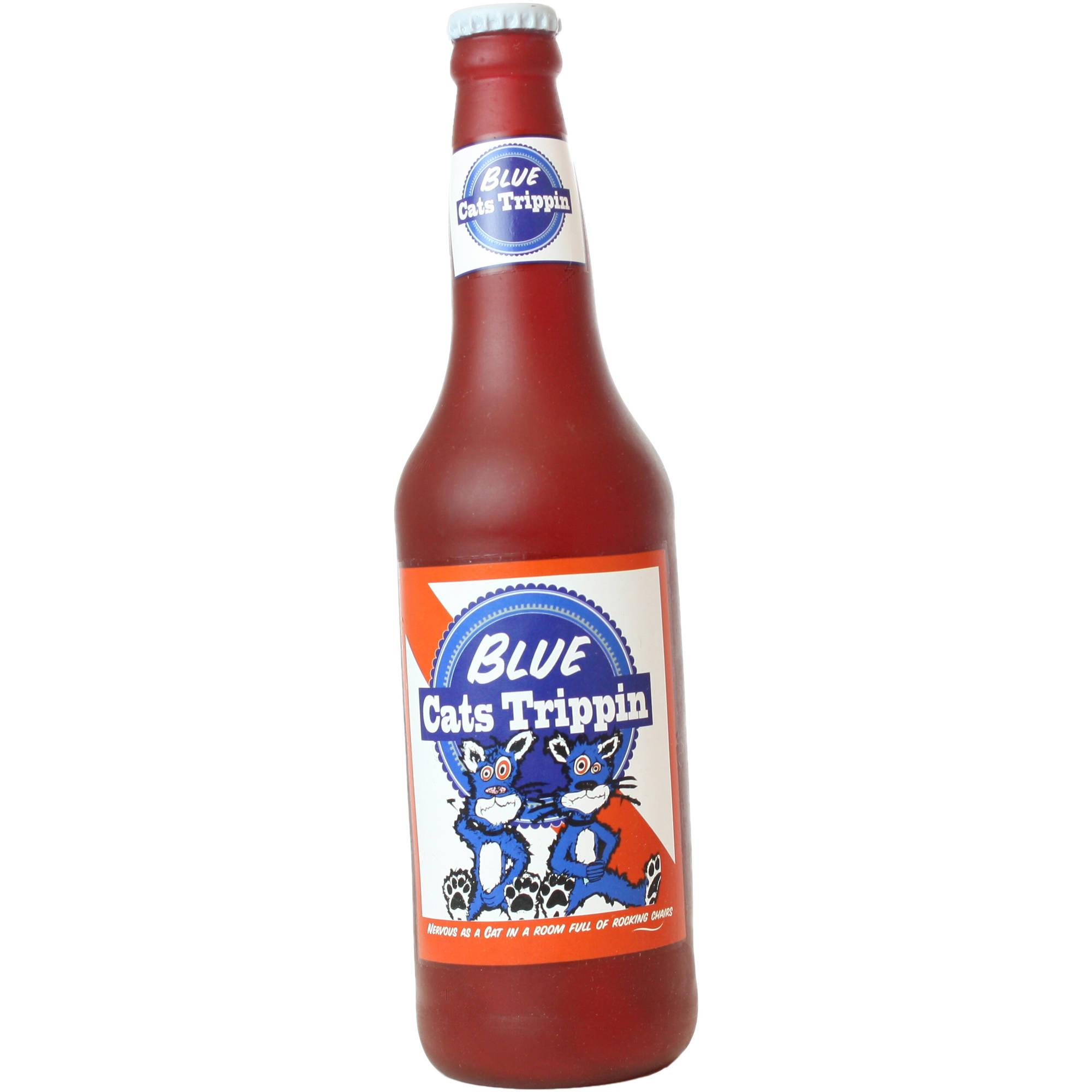 Silly Squeaker Beer Bottle Blue Cat Trippin Dog Toy