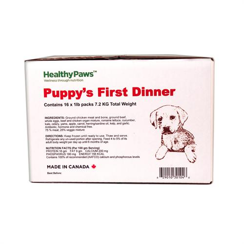 Healthy Paws Big Box Dinners Puppy's First Dinner Chicken Raw Frozen Dog Food, 16-lb