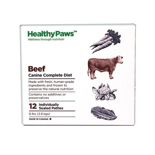 Healthy Paws Canine Complete Diet Beef Raw Frozen Dog Food, 6-lb