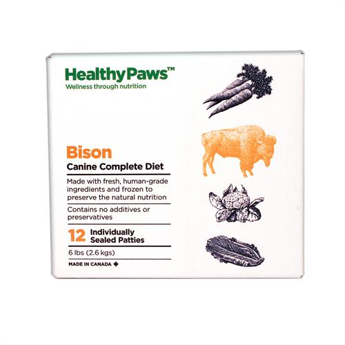 Healthy Paws Canine Complete Diet Bison Raw Frozen Dog Food, 6-lb