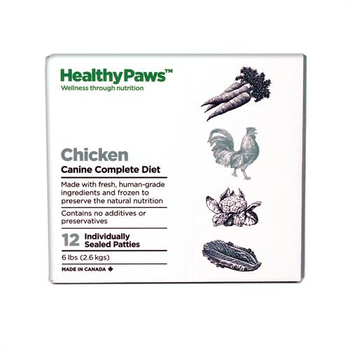 Healthy Paws Canine Complete Diet Chicken Raw Frozen Dog Food, 6-lb