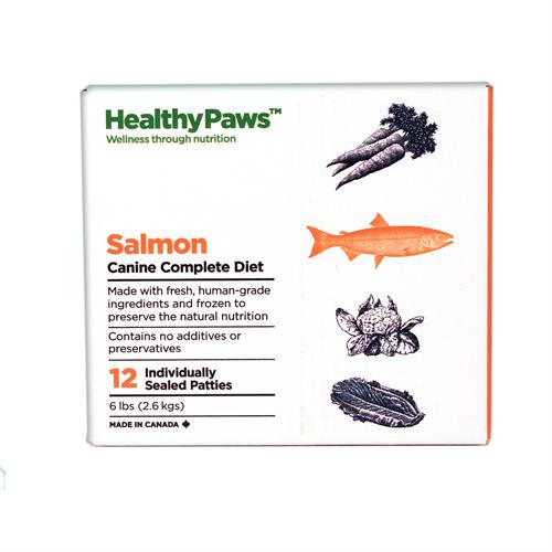 Healthy Paws Canine Complete Diet Salmon Raw Frozen Dog Food, 6-lb