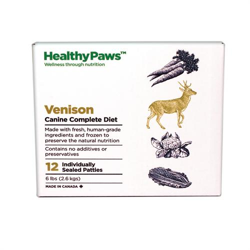 Healthy Paws Canine Complete Diet Venison Raw Frozen Dog Food, 6-lb