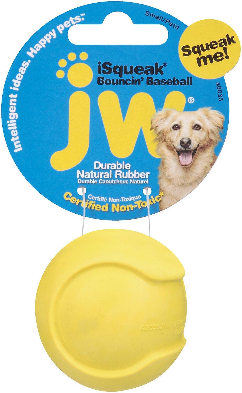 JW Pet iSqueak Bouncin' Baseball Dog Toy, Color Varies Image