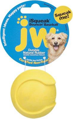 JW Pet iSqueak Bouncin' Baseball Dog Toy, Color Varies, Small